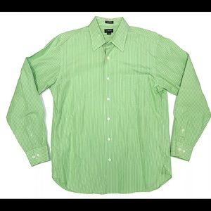 J. Crew Green & White Striped Button Shirt Sz M